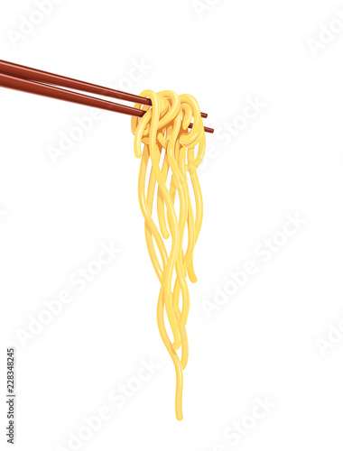 Photo Chinese noodles at chopsticks Fast-food meal, isolated white