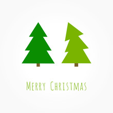 Two Green Christmas Trees Card
