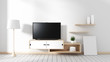 Smart Tv - blank black screen hanging on the cabinet, modern living room with white wood floor. 3d rendering