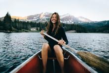 Smiling Woman In Canoe