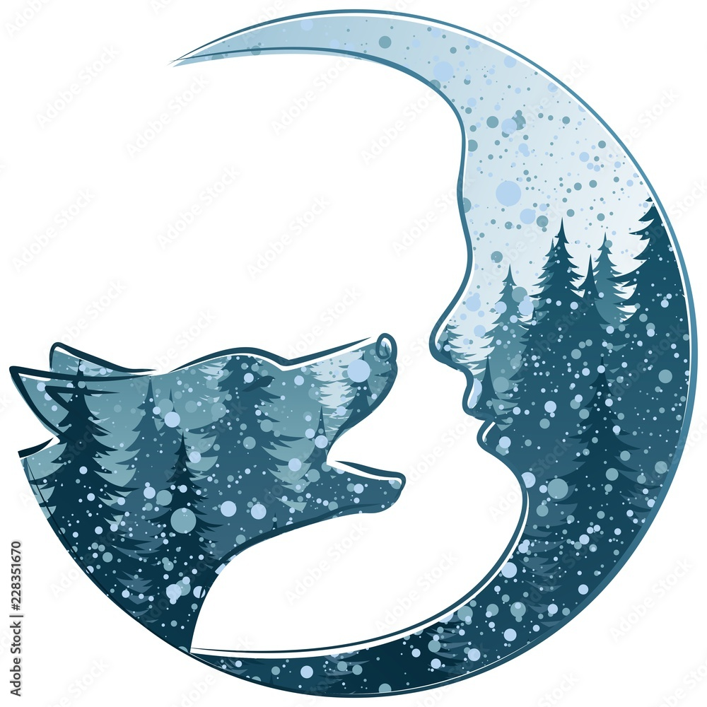A wolf with the winter night forest and month.