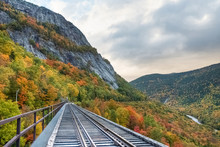 Crawford Notch State Park And Valley In The White Mountains Forest Reserve At Fall With Colorful Foliage. New Hampshire, USA