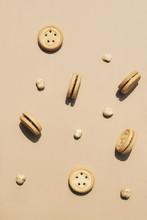 Round Walnut Cookies On A Cara...