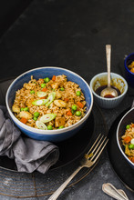 Honey Soy Stir Fried Rice With Tofu Served In Bowl