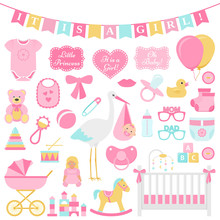 Baby Shower Girl Set. Vector. Cute Pink Elements For Birth Party. Baby Icons Isolated For Card, Print, Postcard, Nursery, Template Banner, Flat Design On White Background Colorful Cartoon Illustration