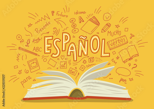 "Espanol. Translation ""Spanish"". Open book with language hand drawn doodles and lettering. Education vector illustration."