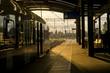 Railway station, train & sunset - dworzec kolejowy i pociąg o zachodzie Słońca
