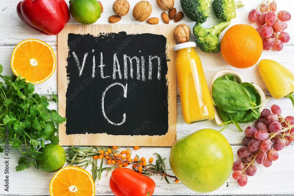 Fototapeta Fruits and vegetables with vitamin C. Healthy food high in vitamin C. Top view, overhead.
