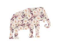 Elephant With Rose Pattern