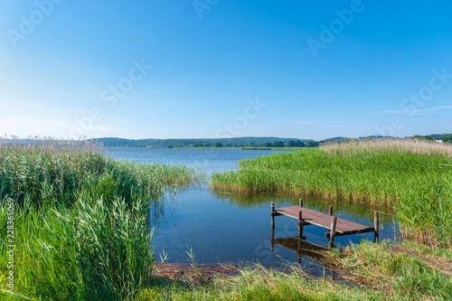 Foto op Aluminium Blauw Landscape at the Selliner lake near Baabe