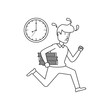businessman running with books and clock