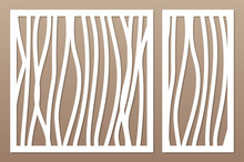 Set Template For Cutting. Abstract Line, Geometric Pattern. Laser Cut. Set Ratio 1:2, 1:1. Vector Illustration.