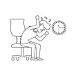 businessman sitting in chair witch clock time
