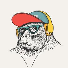 Gorilla Listening Music In Hea...
