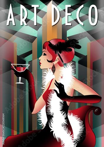 Plakaty do domu - mieszkania retro-party-invitation-card-handmade-drawing-vector-illustration-art-deco-style
