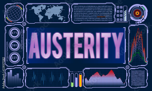 Futuristic User Interface With the Word Austerity Wallpaper Mural