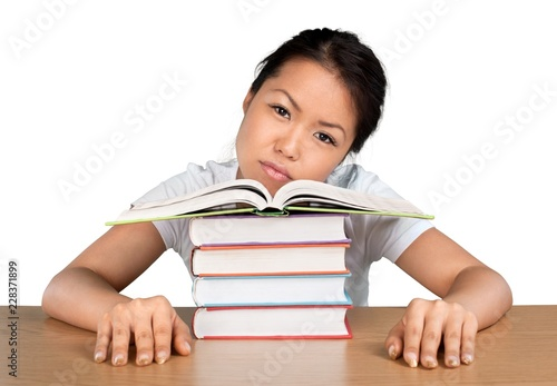 Poster Individuel Portrait of a Fatigued Student with Books