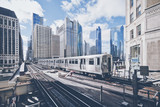 Elevated railway train in Chicago - 228373059