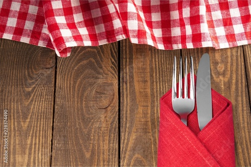 Tablecloth textile on wooden table