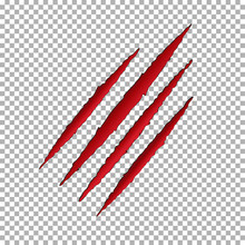 Monster Tear Claw Scratch Mark. Llion Break Paper Isolated On Transparent Background. Red Claws Scra