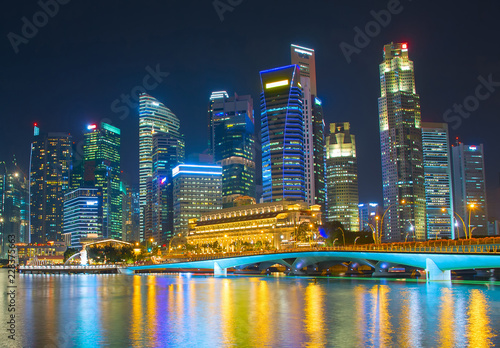 Singapore business center night skyline
