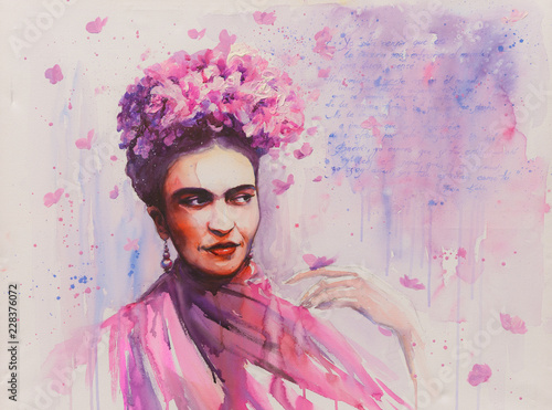 Tablou Canvas Young beautiful mexican woman with a traditional hairstyle - flowers in her hair