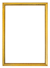Gold Antique Gilt Frame Isolated On White Background.