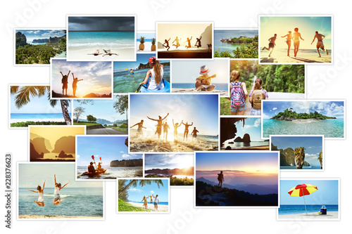 Photo collage of tropical images with landscapes and peoples Canvas-taulu