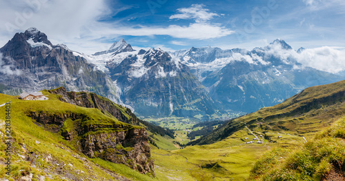 Foto auf Leinwand Gebirge Great view of alpine hill. Location place Swiss alps, Grindelwald valley.