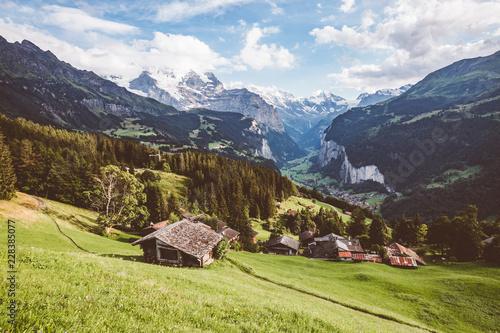 Scenic surroundings near the resort Wengen. Location place Swiss alp, Lauterbrunnen valley.