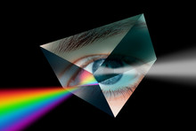 A Prism Dispersing White Light Against Girl Eye
