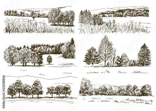 Poster Blanc Set of romantic landscapes.