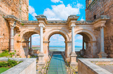 View Of Hadrian's Gate In Old City Of Antalya Turkey