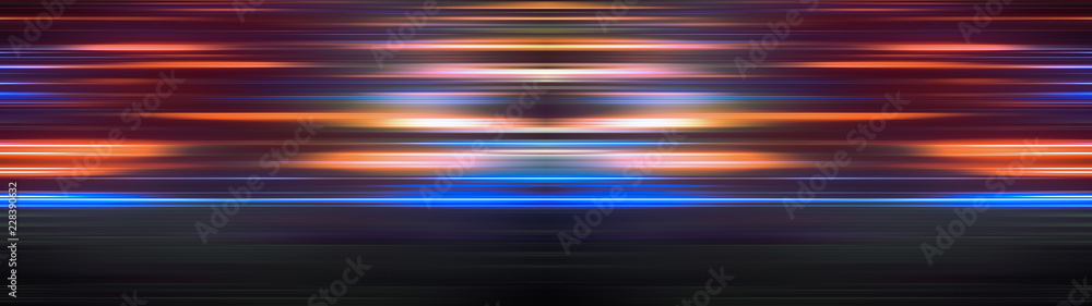 Fototapeta Glowing light stripes in motion over dark ultra wide background. Luminous blurred lines moving fast. Flaring bright streaks. Abstract composition. 3d rendering