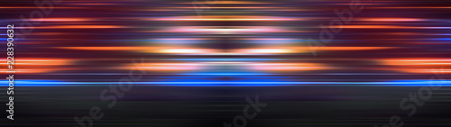 Glowing light stripes in motion over dark ultra wide background Fototapet