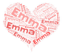Emma Word Cloud In Heart Shape