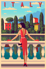 Sunny Summer Day On The Shore Of Lake Como, Italy. Handmade Drawing Vector Illustration. Can Be Used For Posters, Banners, Postcards, Books & Etc.