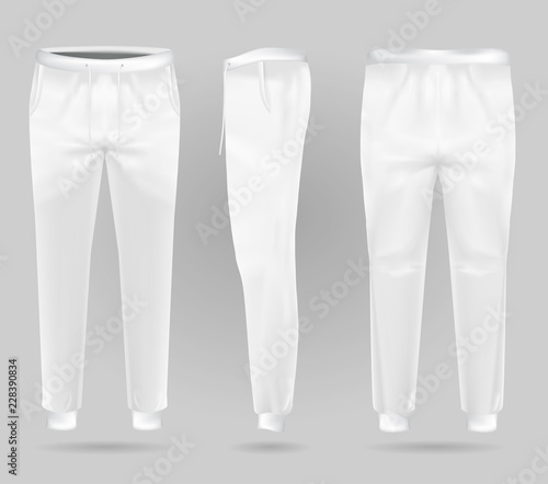 White sports trousers. Sports sweatpants design template. sportswear and urban pants