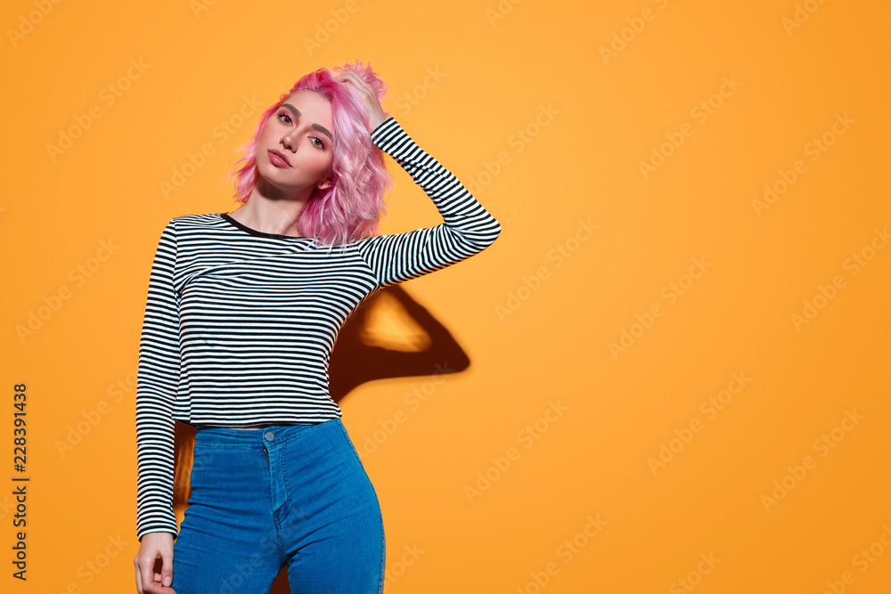 Fototapety, obrazy: Modern pretty woman with pink hairstyle