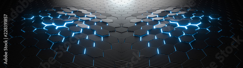 Photo sur Toile Metal Abstract hexagonal geometric ultra wide background. Structure of lots of hexagons of carbon fiber with bright energy light breaking through the cracks. 3d rendering