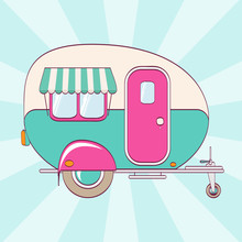 Cute Pink And Turquoise Camper...
