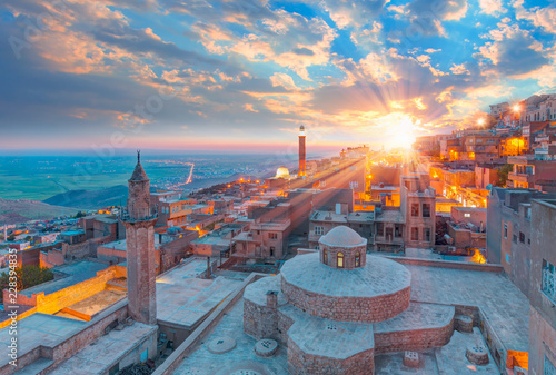 Mardin old town with bright blue sky - Mardin, Turkey