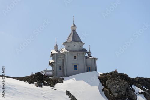 In de dag Antarctica Wooden church in Antarctica
