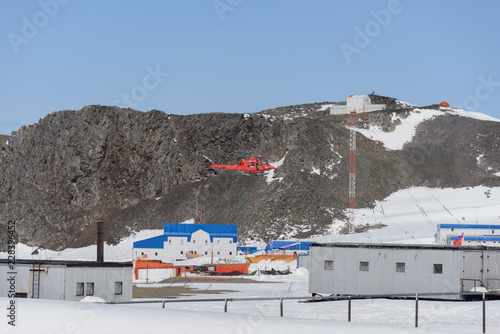 In de dag Antarctica Bellingshausen Russian Antarctic research station