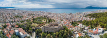 Aerial Drone Photo Of Famous Town And Castle Of Patras, Peloponnese, Greece. Panorama