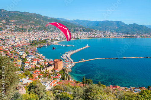 Landscape with marina and Red tower in Alanya peninsula - Antalya, Turkey Wallpaper Mural