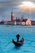 Panoramic aerial view at San Giorgio Maggiore island with gondola, Venice, Italy