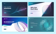 Set Of Web Page Design Templates With Abstract Background For Business App, Project Management, Creative Solutions. Modern Vector Illustration Concepts For Website And Mobile Website Development.