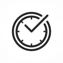 Check Mark On Clock Line Icon....