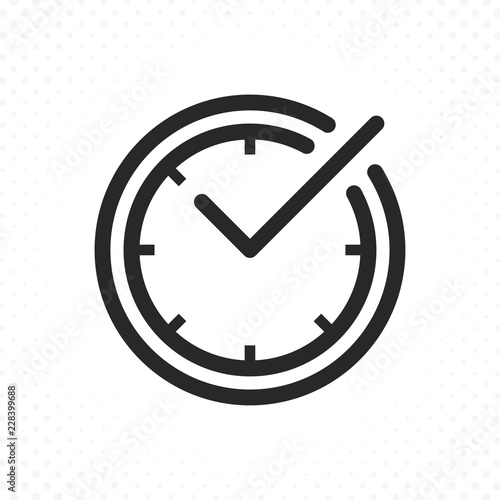 Fotomural Check mark on clock line icon